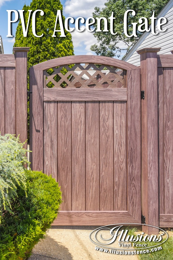 Fence Ideas That Add Curb Appeal. Great Backyard Fence Gate Idea of PVC Vinyl Privacy Fencing in Illusions Walnut Wood Grain. #fence #fencing #privacy #fenceideas #backyardideas #gate