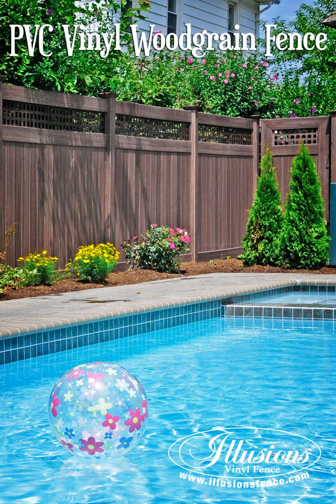 Fence Ideas That Add Curb Appeal. Awesome Pool Fence Idea of Walnut PVC Vinyl Privacy Fence from Illusions Vinyl Fence. #fenceideas #fencedecor #poolideas