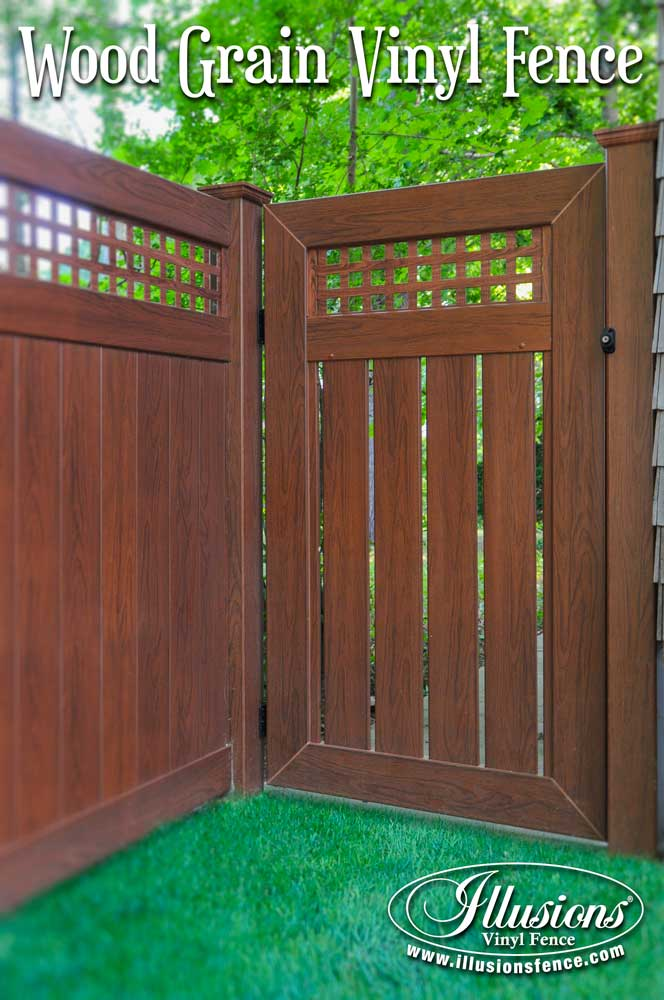 craftsman style pvc vinyl wood grain fence and gate that looks like real wood eastern white cedar grain privacy fence from illusions vinyl fence