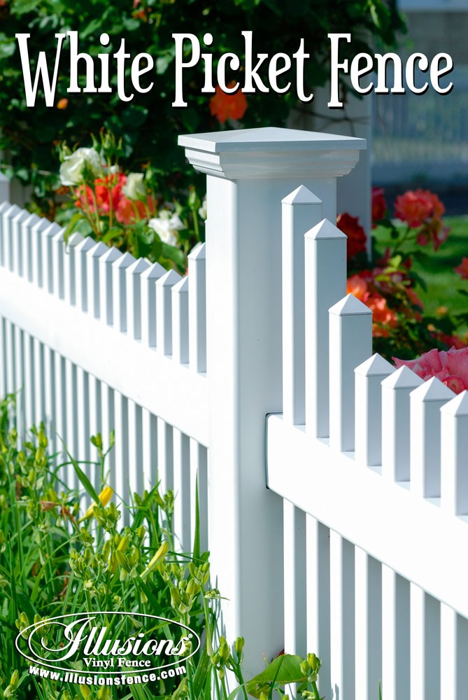 This Beautiful American Dream White Picket Fence Style V706-4 by Illusions Vinyl Fence is a Perfect Example of How Your Fence Can Add Curb Appeal to Your Home. #fenceideas #curbappeal #americandream