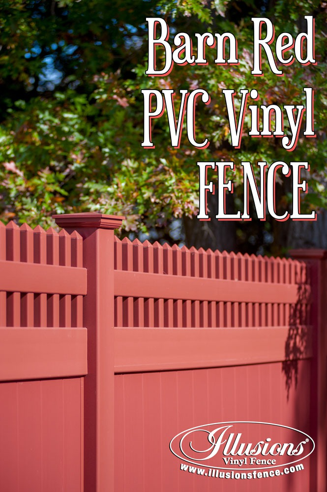 New Fence Ideas. Gorgeous PVC Vinyl Barn Red Privacy Fence with Classic Victorian Picket Topper Looks Like Painted Wood Fence Without the Maintenance. #landscapingideas