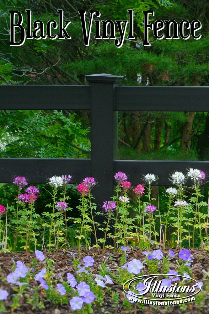 New Fence Ideas. Black 2-Rail Post and Rail PVC Vinyl Fence From Illusions Vinyl Fence Adds Amazing Character to Your Landscaping. #landscapingideas