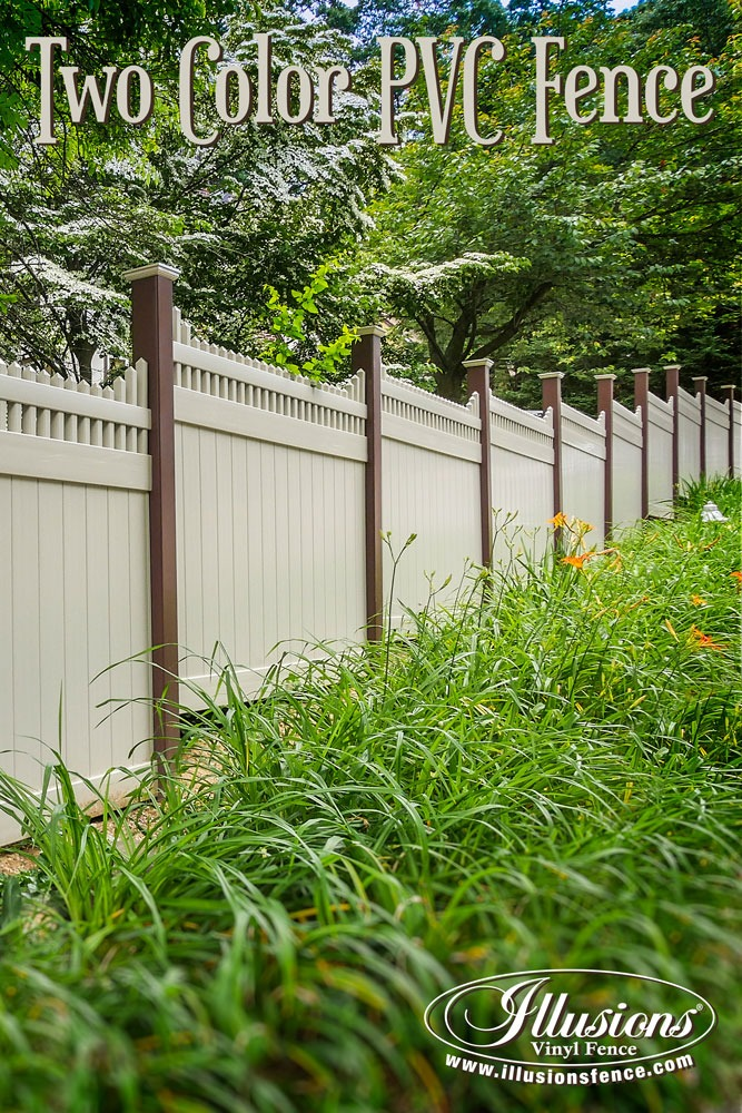 New Fence Ideas. Two Color PVC Vinyl Fence From Illusions Is a Perfect Way to Have Your Cake and Eat Too With Your Landscaping. #landscapingideas