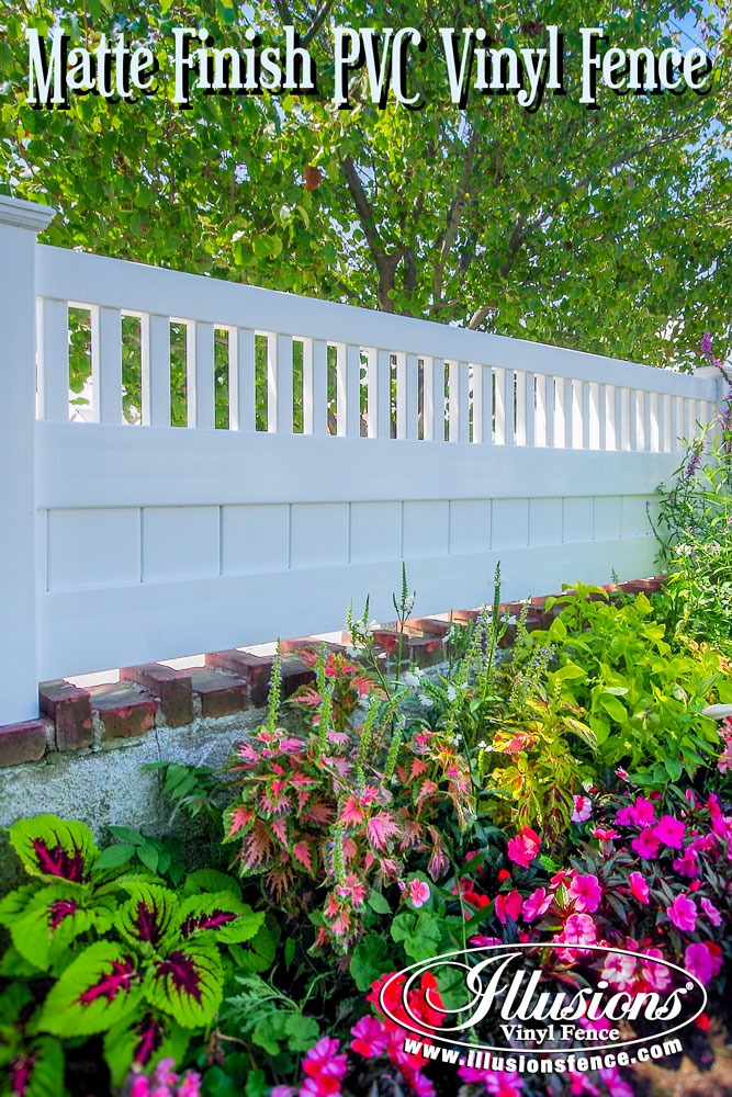 New Fence Ideas. Beautiful White V3701 Mini Matte Finish PVC Vinyl Illusions Vinyl Fence Section On A Brick Wall. #landscapingideas