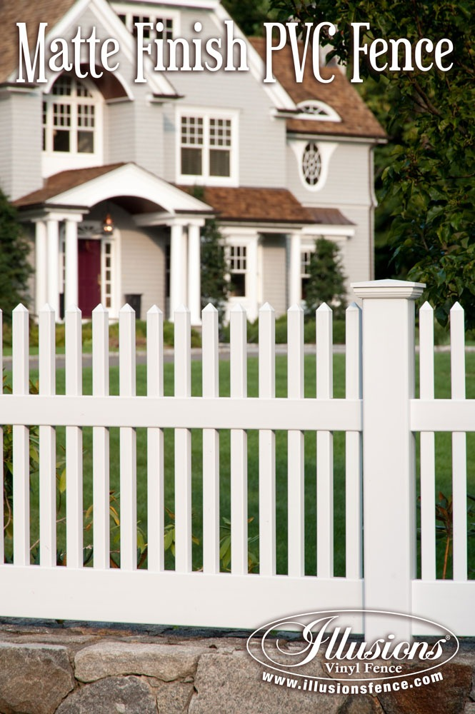New Fence Ideas. Incredible Matte Finish White PVC Vinyl Picket Fence From Illusions Vinyl Fence Looks Like Painted Wood Fence With the Low Maintenance of Vinyl. #landscapingideas
