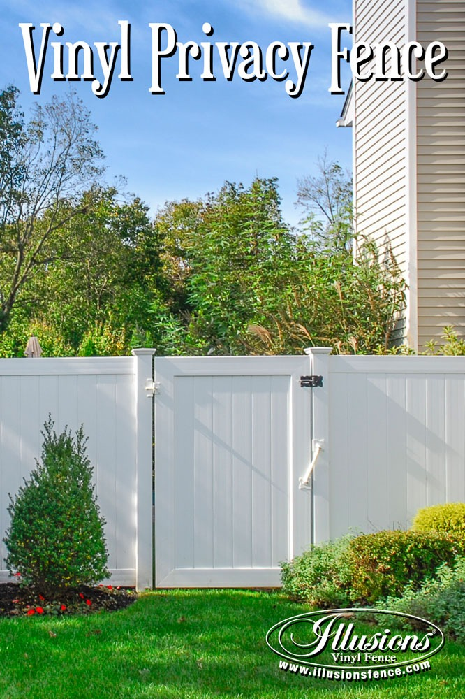 New Fence Ideas. Gorgeous White PVC Vinyl Matte Finish Fence and Matching Gates from Illusions Vinyl Fence Are Perfect for Your Home Decor. #fenceideas