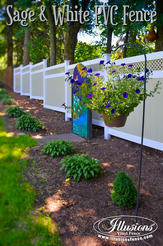 New Fence Ideas. Sage and White Matte Finish PVC VInyl Fence From Illusions Adds a Soothing Landscaping Accent to Your Outdoor Living Space. #fenceideas