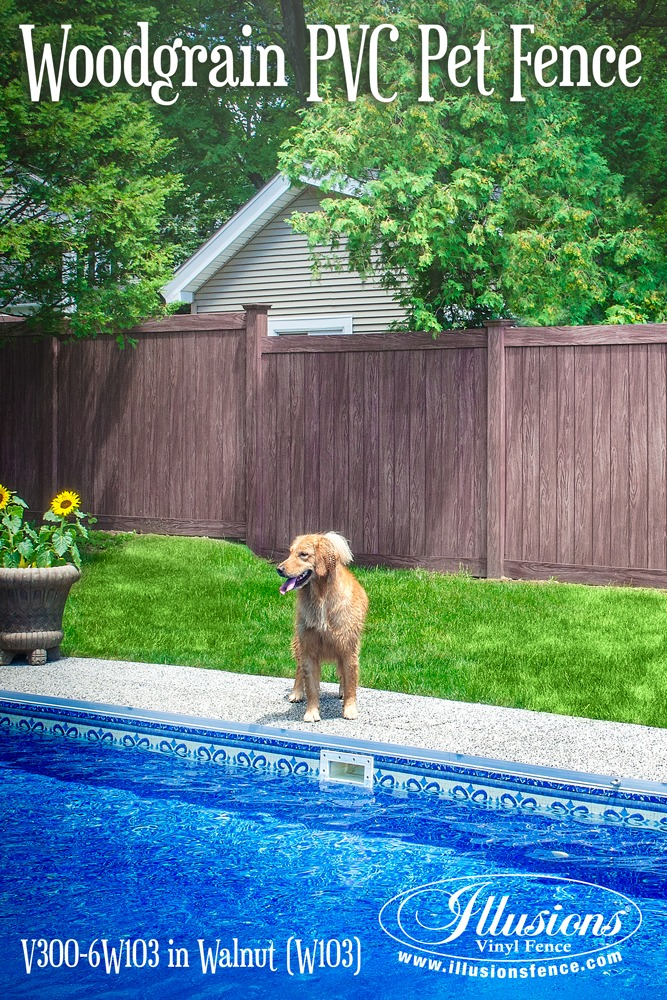 New Fence Ideas. Looking for the Perfect Pet and Pool Fence? PVC Vinyl Illusions Walnut Privacy Fencing Panels Are The Answer To Your Prayers. #fenceideas