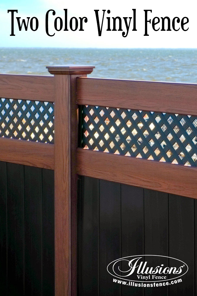 New Fence Ideas. Gorgeous Fence Idea of Rosewood and Black Illusions PVC Vinyl Privacy Fence with Small Diagonal Lattice. #landscapingideas