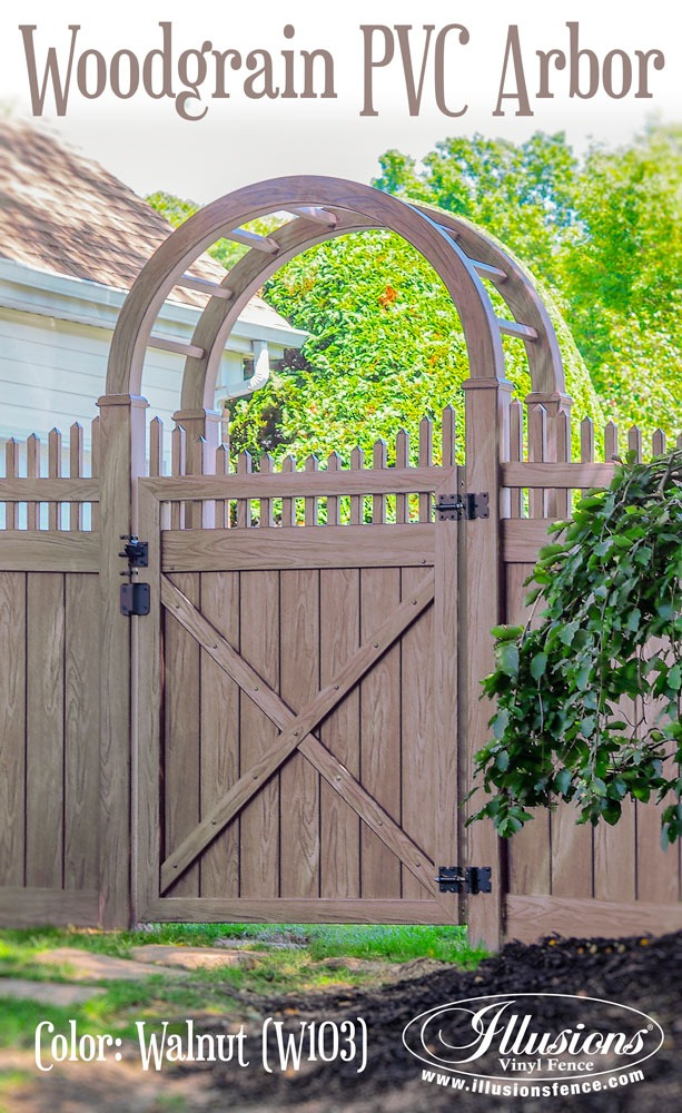 New Fence Ideas. This Gorgeous PVC Vinyl Walnut Woodgrain Fence with Matching Arbor by Illusions Vinyl Fence is a Perfect Landscaping Accent For Your Home. #landscapingideas