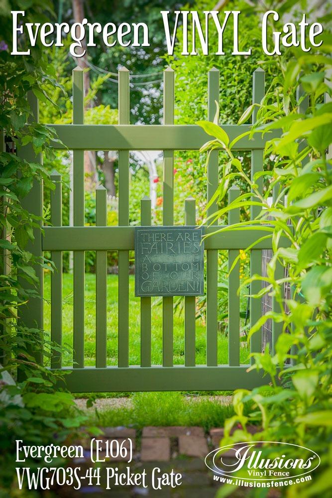 Gorgeous Evergreen Illusions PVC Vinyl Gate Makes for a Terrific Garden or Backyard Idea. #backyardideas