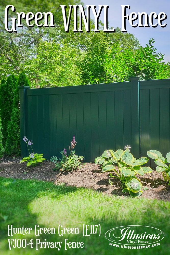 Great New Home Idea of Hunter Green PVC Vinyl Fencing Panels from Illusions Vinyl Fence. #homeideas
