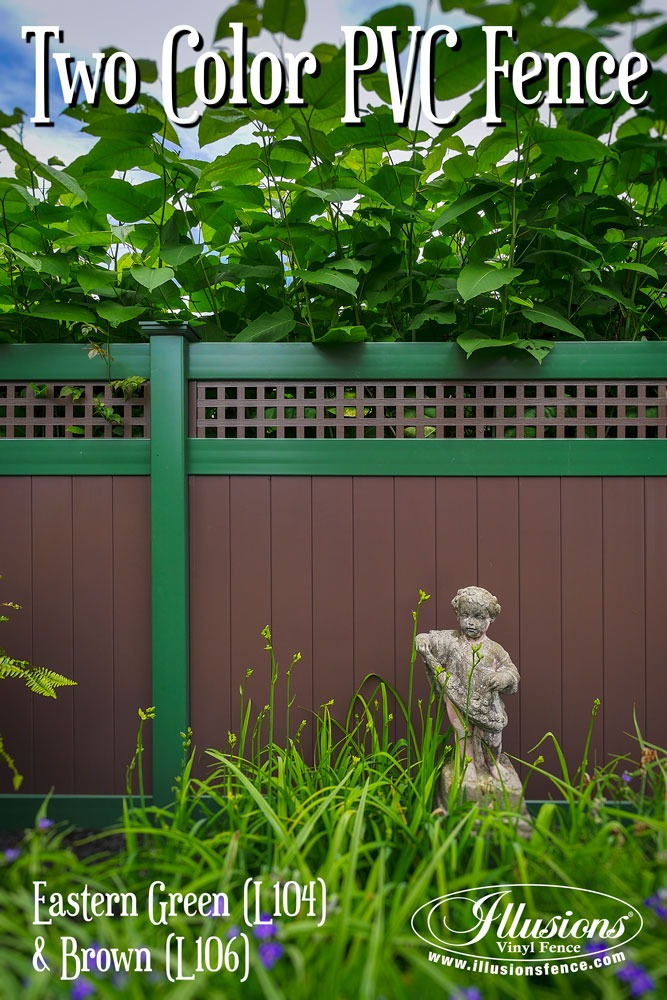 Awesome New Home Idea of Two Color Brown and Green Illusions PVC Vinyl Fencing Panels with Square Lattice Topper. #homeideas