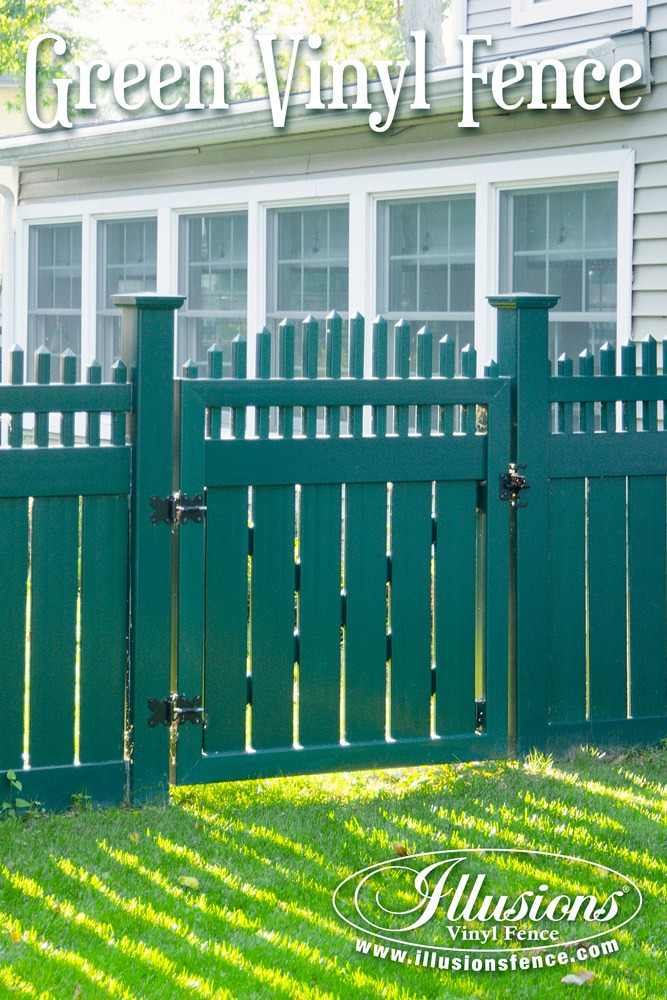 Green PVC Vinyl Fence and Gate From Illusions Vinyl Fence Adds Curb Appeal and Class To You Home Decor. #fenceideas