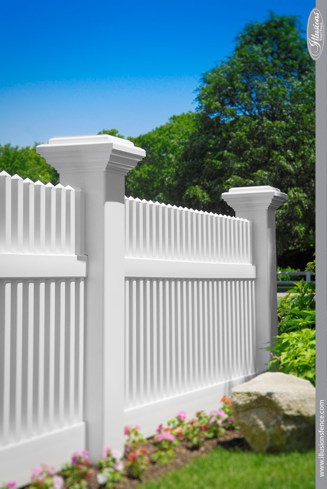 Gorgeous White 8 Inch PVC Vinyl Picket Fence Posts from Illusions Vinyl Fence. #homedecor