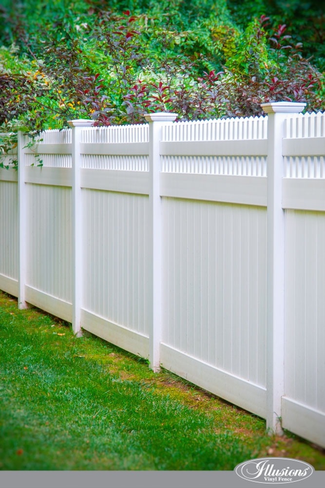 A close up of a white fence. Stunning PVC Vinyl Privacy Fence from Illusions Vinyl Fence. #homedecor