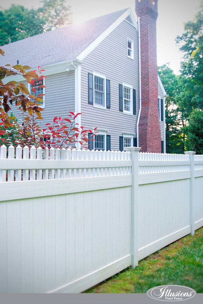 A largStunning PVC Vinyl Privacy Fence from Illusions Vinyl Fence. #homedecore