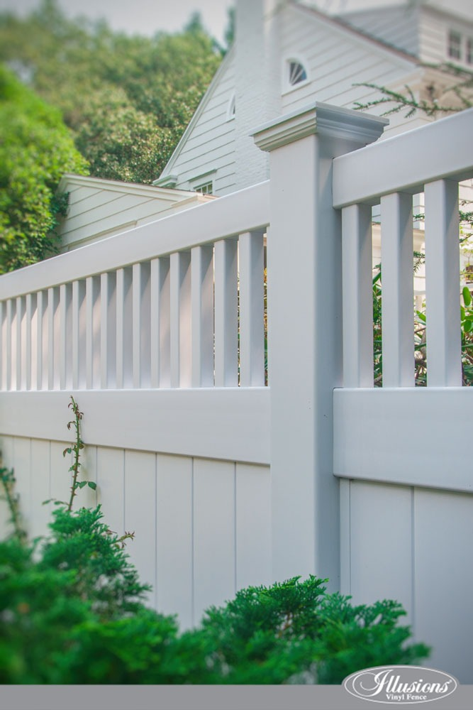 White PVC Vinyl Privacy Fencing Panels With Framed Topper from Illusions Vinyl Fence. #homedecor