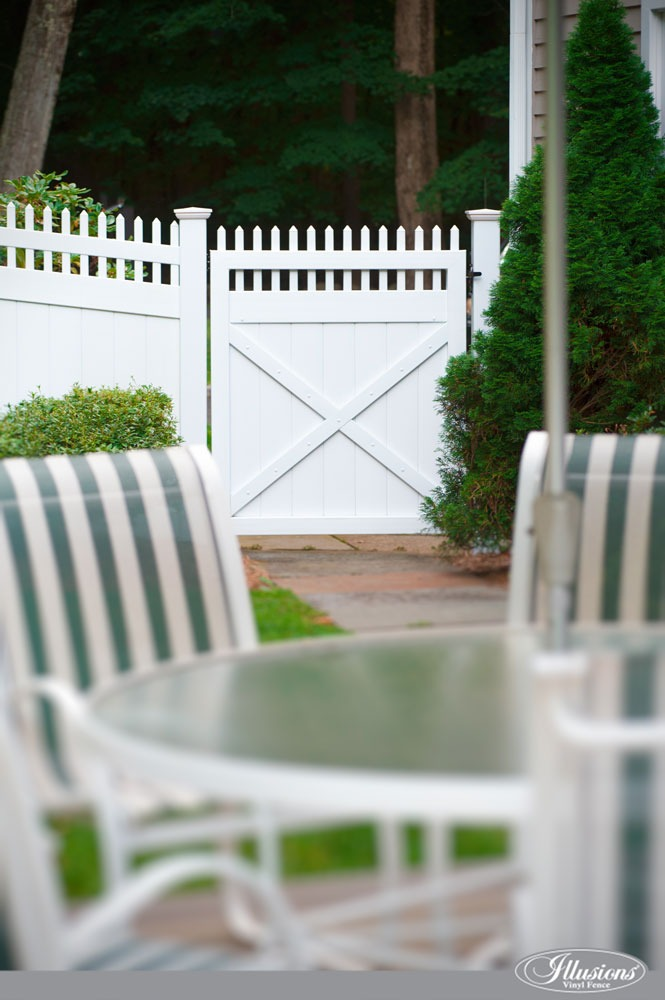 White Vinyl Privacy Gate from Illusions Vinyl Fence #homedecor