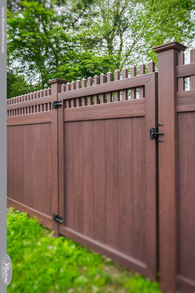Beautiful Rosewood Illusions Vinyl Privacy Gate #landscaping