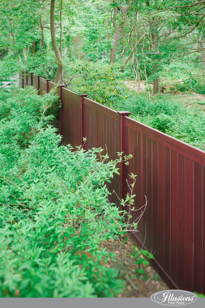 Privacy Fence Never Looked So Good Until Illusions Vinyl Fence Mahogany (W101) Privacy Fence Came Along. #fenceideas