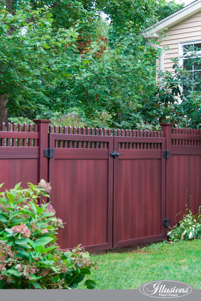 Check out these gorgeous Mahogany PVC Vinyl Illusions Fence Matching Drive Gates. #fenceideas