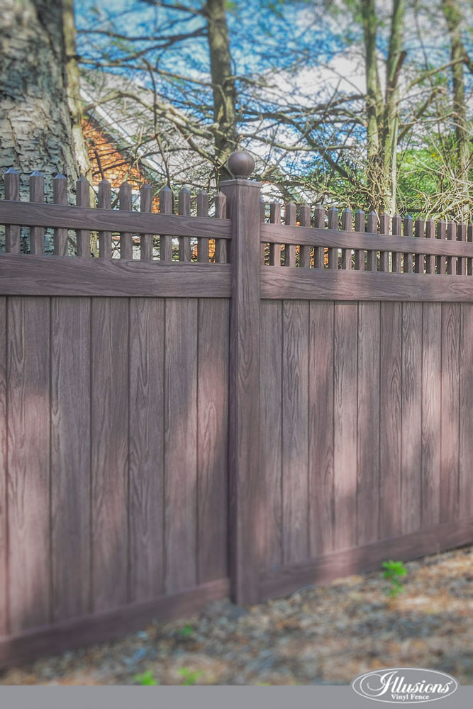 Incredible Vinyl Wood Grain Illusions Walnut Fence #backyardideas