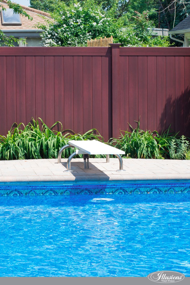 Gorgeous Mahogany PVC Vinyl Pool Fence from Illusoins Vinyl Fence. #poolideas