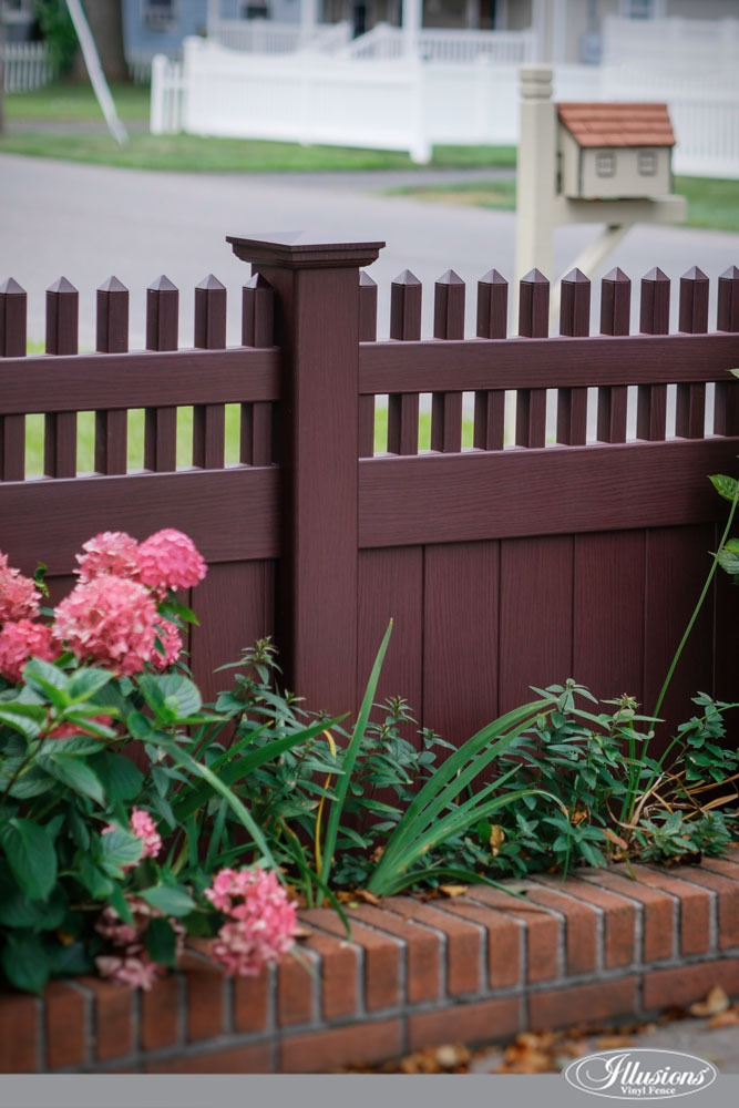 Beautiful PVC VINYL Mahogany Privacy Fence with Straight Picket Topper from Illusions Vinyl Fence. #homedecor