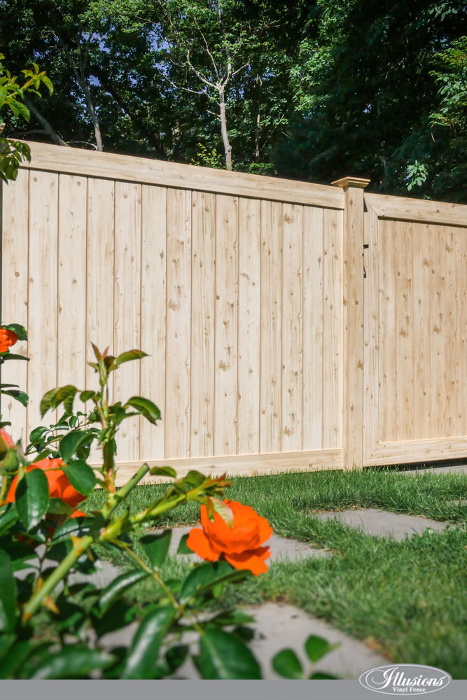 Incredible Eastern White Cedar Grain PVC VINYL Wood Grain Privacy Fencing Panels from Illusions Vinyl Fence are a Perfect Backyard Idea. #backyardideas