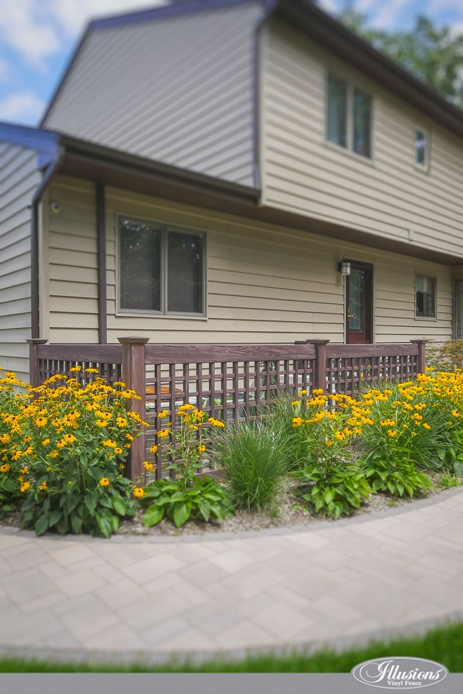 Amazing Lattice PVC Illusions Vinyl Walnut Wood Grain Fence Enclosure with Brown Eyed Susans #homedecor