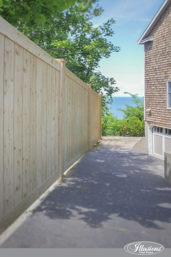Seaside PVC Vinyl Illusions Eastern White Cedar Grain Privacy Fence. #homedecor