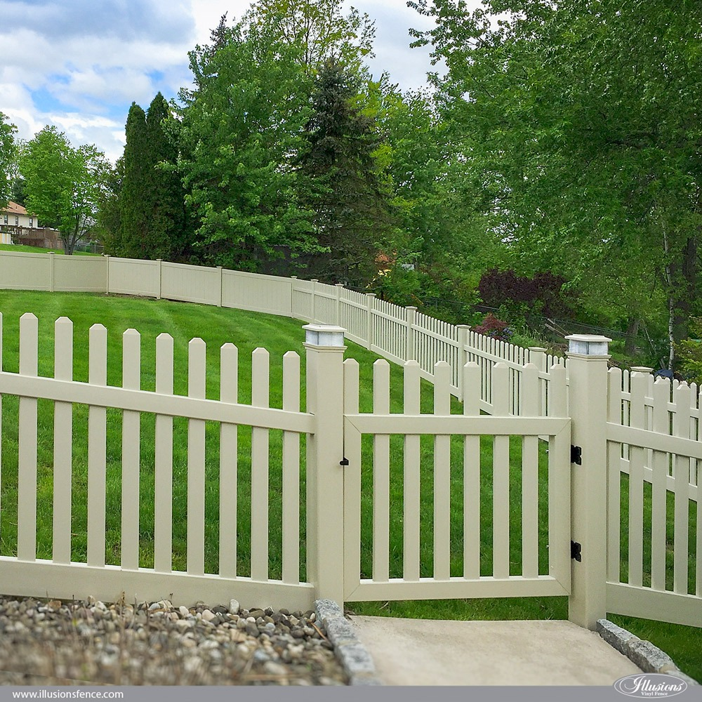 Beige Contemporary Straight Top PVC Vinyl Fence from Illusions