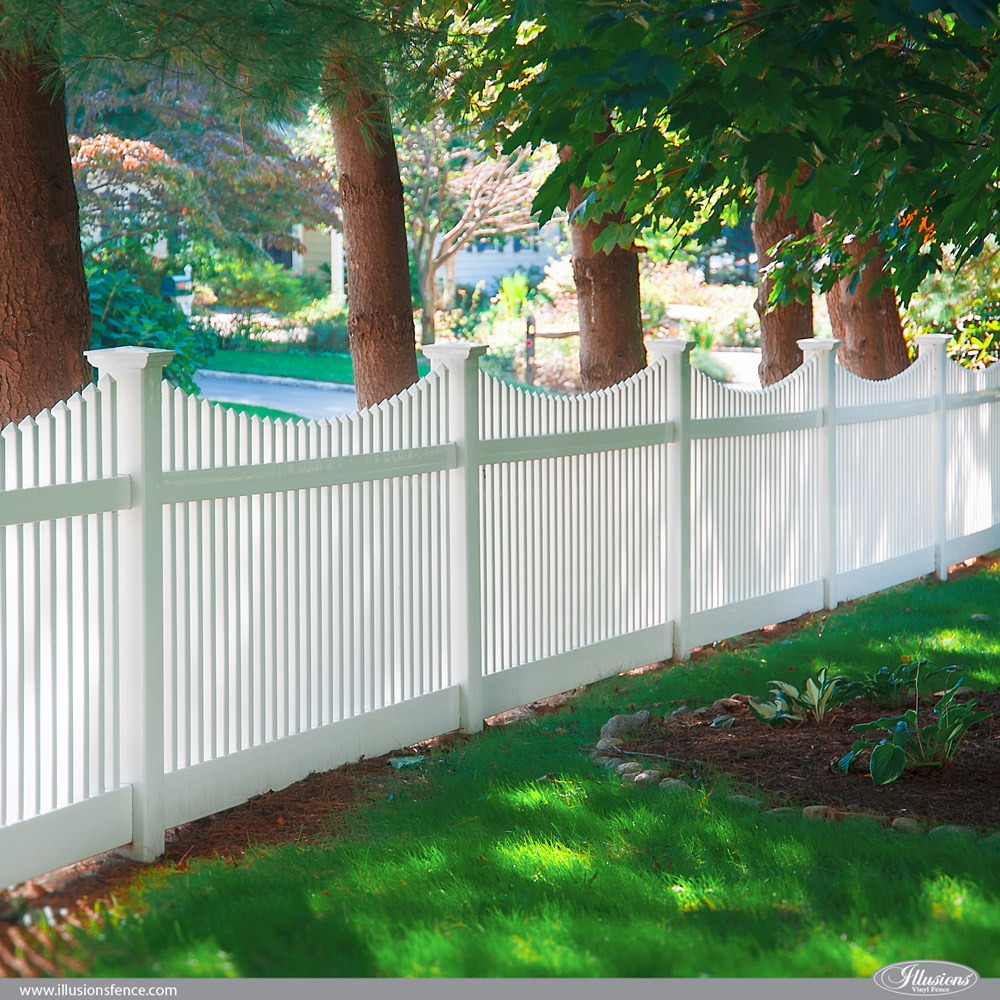 Classic White Classic Victorian Scalloped Picket Fence by Illusions