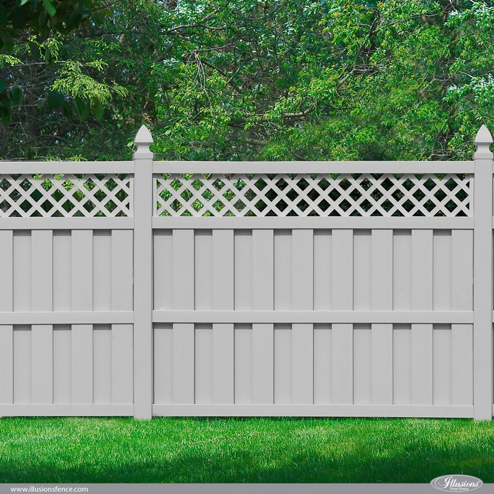 Illusions PVC VInyl Board on Board Fence in Classic Gray