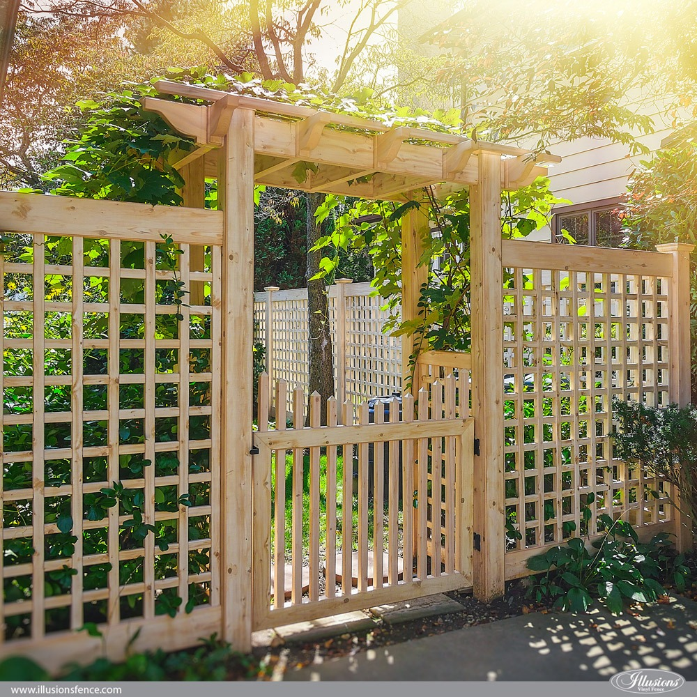 Illusions PVC Vinyl Old English Lattice Fence and Pergola in Eastern White Cedar