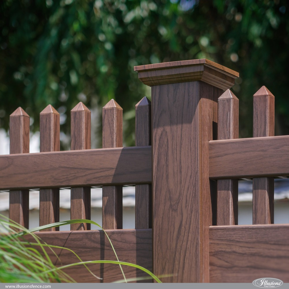 Illusions PVC Vinyl Rosewood Privacy Fence