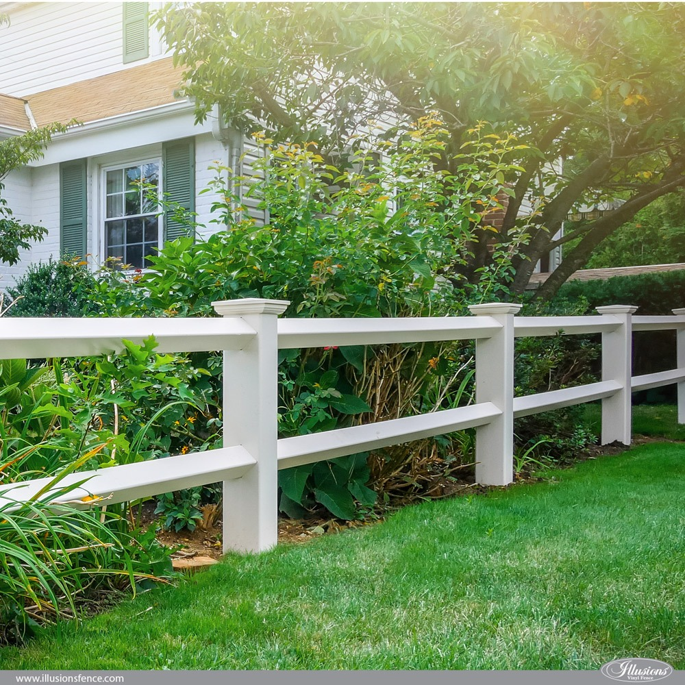 Illusions Vinyl 2-Rail Diamond Post and Rail Fence