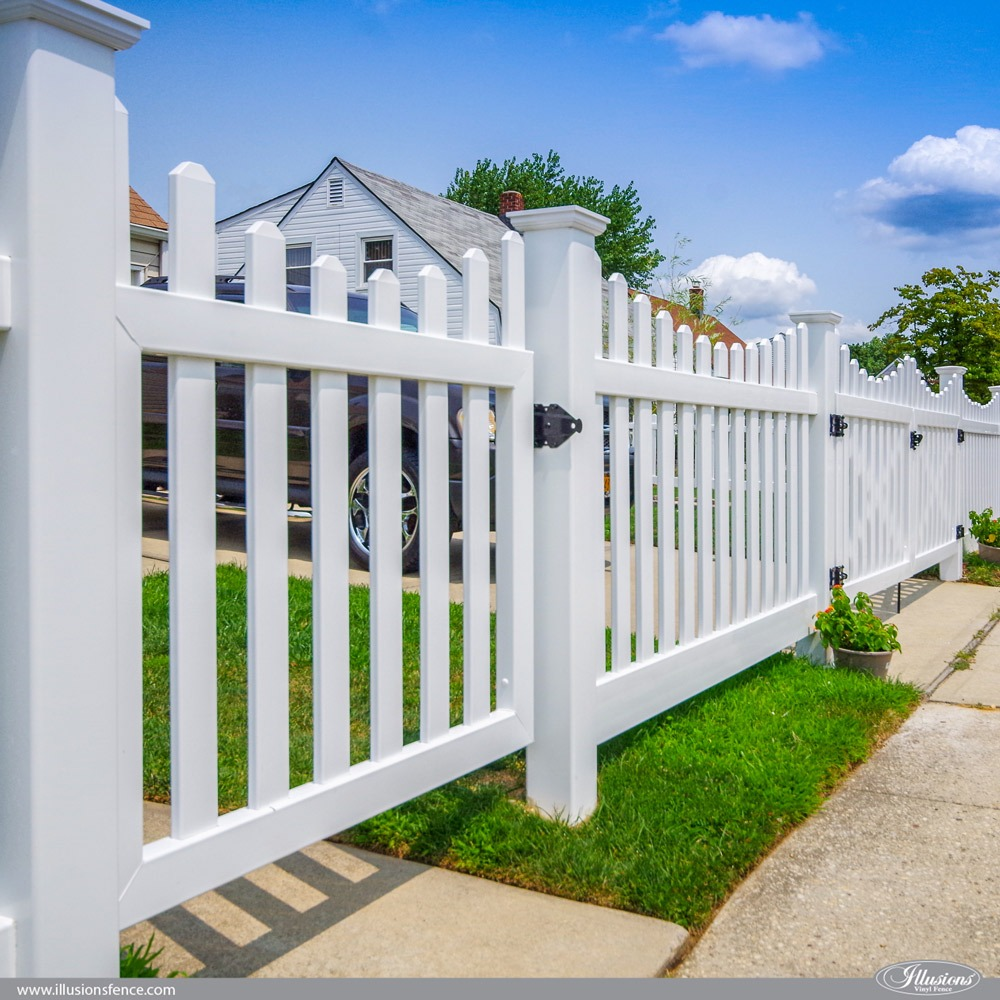 PVC Vinyl Scalloped Contemporary Picket Fence by Illusions