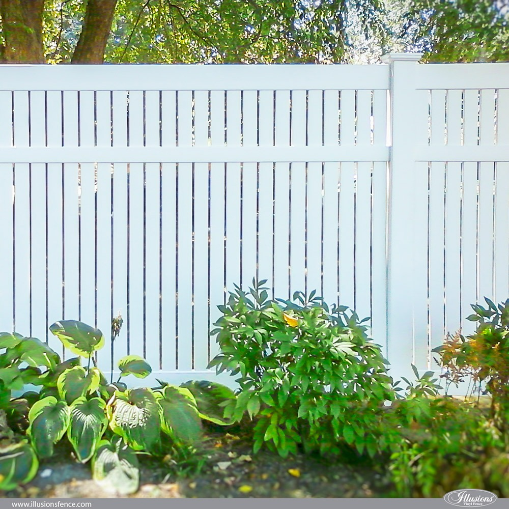 V500 PVC Vinyl White Illusions Semi Privacy 3 inch board Fence