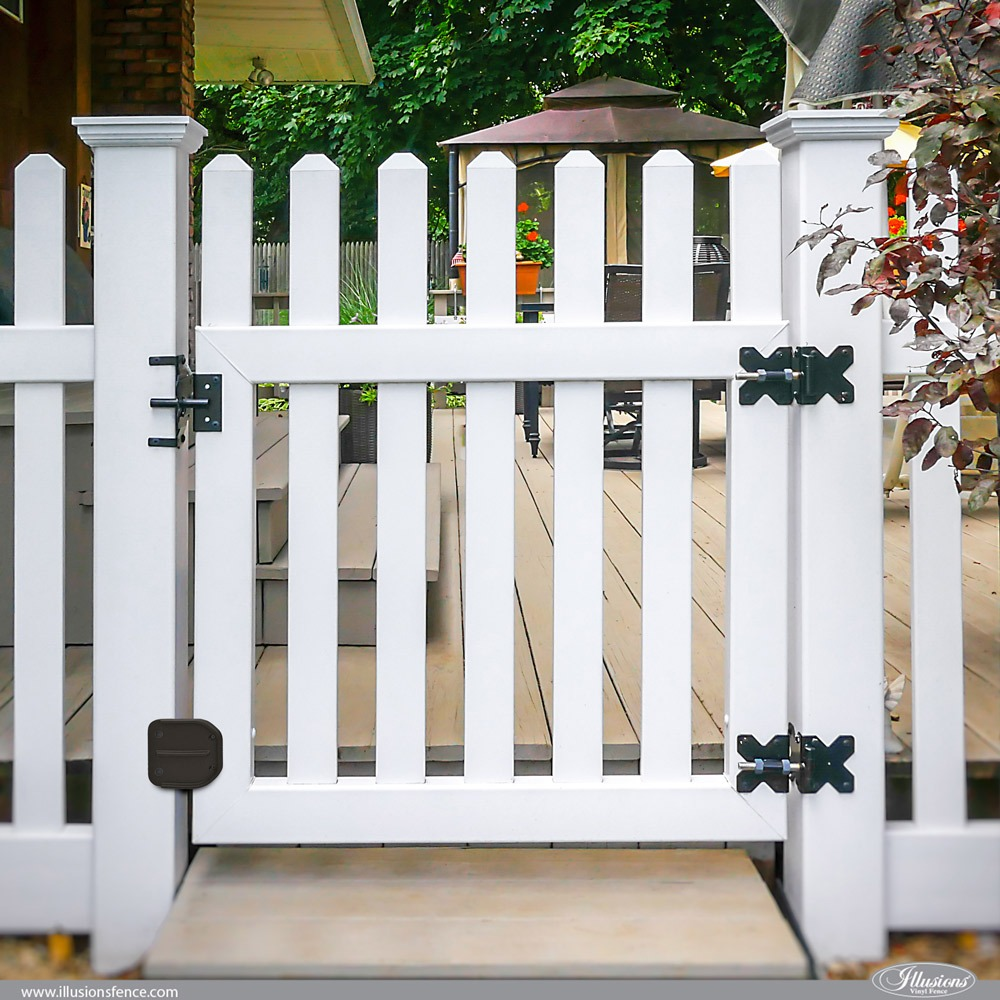 White Illusions PVC Vinyl Contemporary Picket Gate