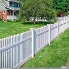 White PVC Vinyl Illusions Straight Top Picket Fence