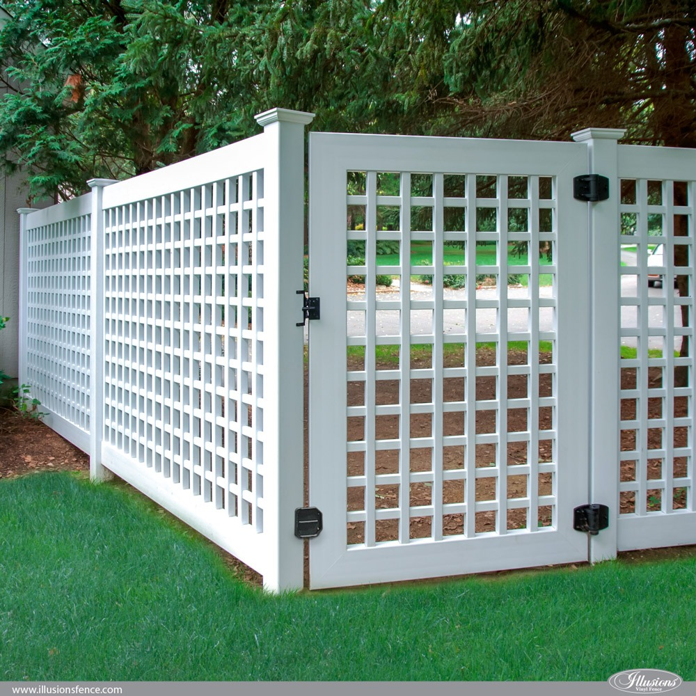 illusions vinyl pvc lattice fence panels and gate 2
