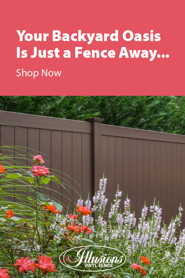 Your Backyard Oasis is Just a Fence Away with Illusions Vinyl Fence. Shown here is a V300-6 tongue and groove vinyl privacy fence in Brown #fence #fences #fencing #vinylfence #vinylfencing #fencepanels #fenceideas #homeideas #homedecor #backyardideas #privacyfence #privacyfences #poolfence #poolfences #longisland #longislandny #newyork #connecticut #rhodeisland #massachusetts #connecticut #pennsylvania #newjersey #fencecompany #bestfence #fencecontractor #fenceinstaller #yardfence