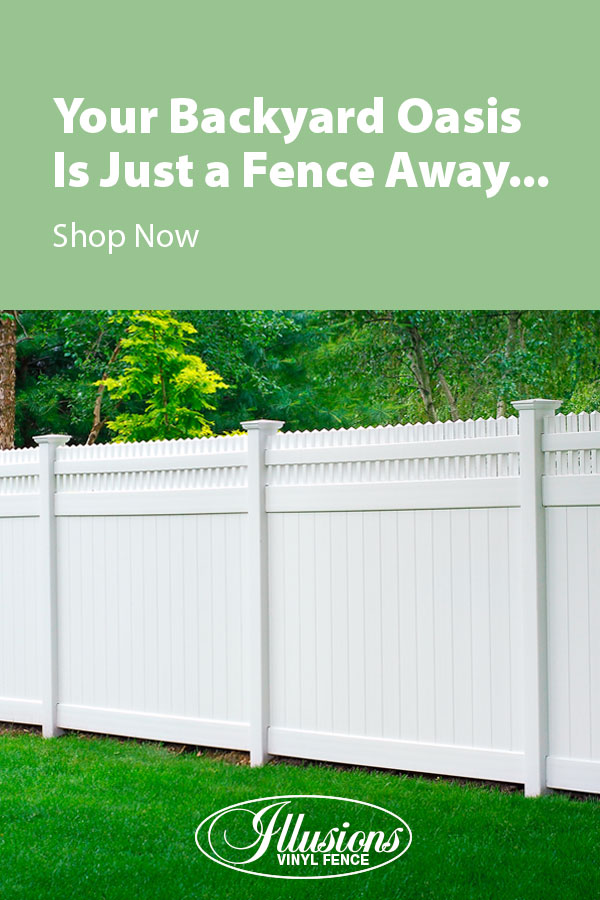 Your Backyard Oasis is Just a Fence Away with Illusions Vinyl Fence. Shown here is a V3700-6 tongue and groove vinyl privacy fence with Classic Victorian straight picket top in Classic White. #fence #fences #fencing #vinylfence #vinylfencing #fencepanels #fenceideas