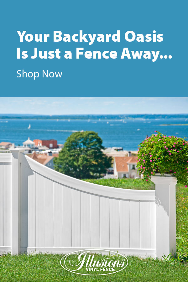 Your Backyard Oasis is Just a Fence Away with Illusions Vinyl Fence. Shown here is a D-Rail VBD300 Illusions Classic V300 section with a curved D-Style transition top rail in Classic White. #fence #fences #fencing #vinylfence #vinylfencing #fencepanels #fenceideas