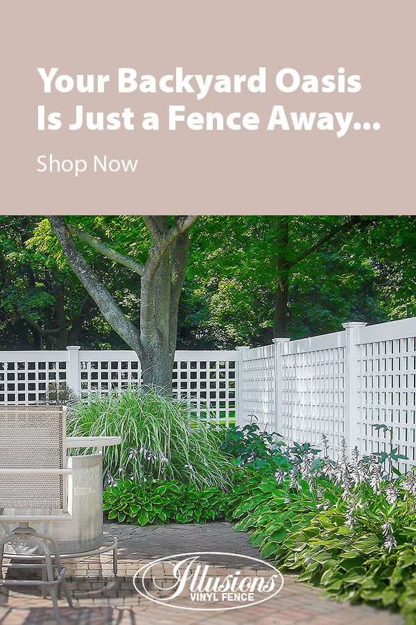 Your Backyard Oasis is Just a Fence Away with Illusions Vinyl Fence. Shown here is a 6 foot high VSQL Classic White Old English Lattice Panel. #fence #fences #fencing #vinylfence #vinylfencing #fencepanels #fenceideas #homeideas #homedecor #backyardideas