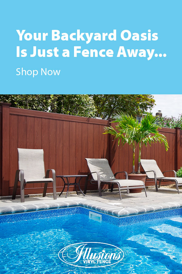 Your Backyard Oasis is Just a Fence Away with Illusions Vinyl Fence. Shown here is a V300-6 tongue and groove vinyl privacy fence in Grand Illusions Vinyl WoodBond Rosweood woodgrain. #fence #fences #fencing #vinylfence #vinylfencing #fencepanels #fenceideas #homeideas #homedecor #backyardideas #privacyfence #privacyfences #poolfence #poolfences #longisland #longislandny #newyork #connecticut #rhodeisland #massachusetts #connecticut #pennsylvania #newjersey #fencecompany #bestfence #fencecontractor #fenceinstaller #yardfence