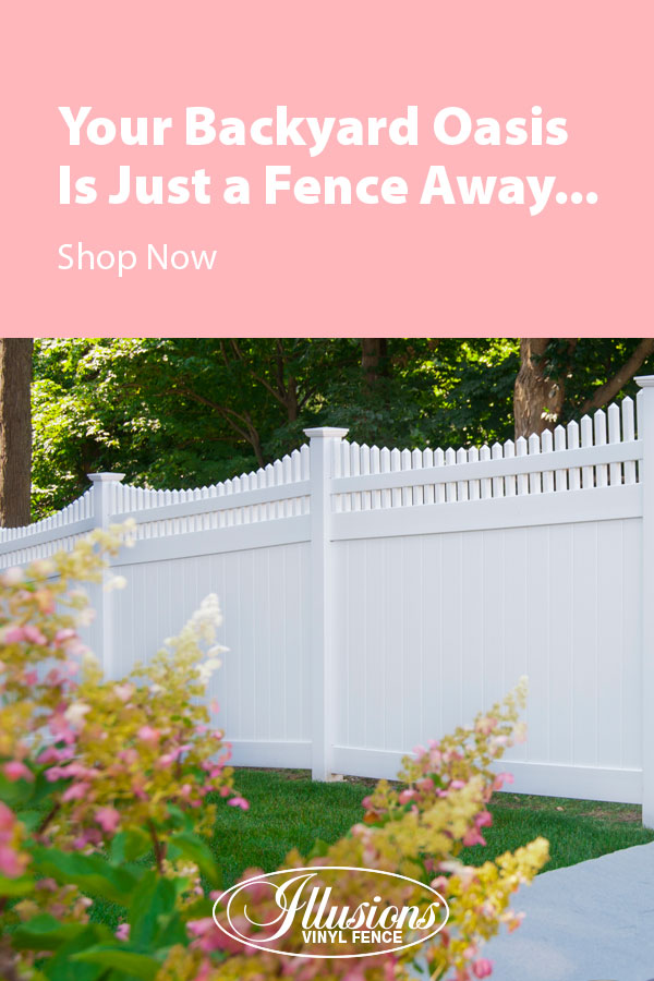 Your Backyard Oasis is Just a Fence Away with Illusions Vinyl Fence. Shown here is a V3707-6 6 foot high Classic White tongue and groove vinyl privacy with scalloped Classic Victorian picket top. fence #fence #fences #fencing #vinylfence #vinylfencing #fenceideas