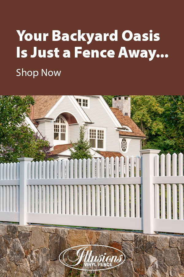Your Backyard Oasis is Just a Fence Away with Illusions Vinyl Fence. Shown here is a V700 style fence in matte finish Patio White #fence #fences #fencing #vinylfence #vinylfencing #fencepanels #fenceideas #homeideas #homedecor #backyardideas #privacyfence #privacyfences #poolfence #poolfences #longisland #longislandny #newyork #connecticut #rhodeisland #massachusetts #connecticut #pennsylvania #newjersey #fencecompany #bestfence #fencecontractor #fenceinstaller #yardfence
